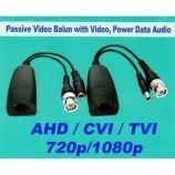 HD-TVI / CVI / AHD VIDEO 720p/1080p a POWER baloun, balun, transreceiver, souprava převodníků pro přenos analogového HD videa s napájením po UTP - TT-CAT07