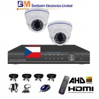 4CH 1080p AHD kamerový set STARVIS CCTV- DVR a 2x venkovní dome AHD IR kamer, 4x ZOOM, BÍLÉ, vč. příslušenství,1920x1080px, CZ menu,P2P, HDMI, 2 MPx