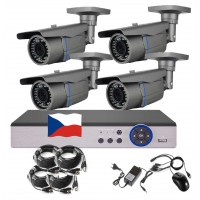 4CH 1080p AHD kamerový set- STARLIGHT CCTV - DVR s LAN a 4x AHD IR kamier, 4x ZOOM, CZ menu, P2P, HDMI, IVA, H265+