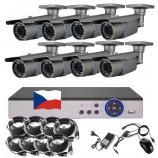 8CH 1080p AHD DVR kamerový set STARLIGHT CCTV - DVR s LAN a 8x bullet AHD IR kamier, 4x ZOOM, CZ menu,P2P, HDMI, IVA, H265+