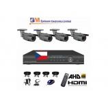 8CH 1080p AHD DVR kamerový set STARVIS CCTV - DVR s LAN a 4x venkovních bullet AHD IR kamer, 4xZOOM, vč. příslušenství, s kabeláží, 1920x1080px/CH, CZ menu,P2P, HDMI, 2MPx