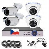 8CH 1080p AHD kamerový set - DVR s LAN a 2+2x dome + bullet IR kamier, CZ menu, P2P, HDMI, IVA, H265+