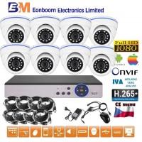 8CH 1080p AHD kamerový set - DVR s LAN a 8x dome, 1920x1080px/CH, CZ menu,P2P, HDMI, IVA, H265+