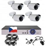 4CH 1080p AHD kamerový set CCTV - DVR s LAN a 4x vonkajších bullet IR kamier, CZ menu,P2P, HDMI, IVA,H265+
