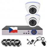 4CH 1080p AHD kamerový set CCTV - DVR s LAN a 2x venkovních dome IR kamer, CZ menu,P2P, HDMI, IVA,H265+