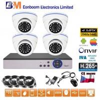 4CH 4MPx AHD kamerový set CCTV - DVR s LAN a 4x vonkajšie dome, 2688×1520px/CH, CZ menu,P2P, HDMI, IVA, H265+