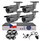 4CH 5MPx STARVIS AHD kamerový set CCTV - DVR s LAN a 4x vonkajšie vari 2,8-12mm bullet, 2688×1960px/CH, CZ menu,P2P, HDMI, IVA, H265+