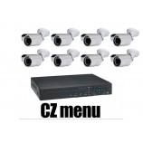 8CH 4MPx AHD kamerový set CCTV - DVR s LAN a 8x venkovních bullet AHD IR kamer, 2688×1520px/CH, CZ menu,P2P, HDMI