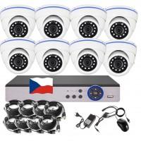 8CH 4MPx AHD kamerový set CCTV - DVR s LAN a 8x vonkajších dome kamier, CZ menu,P2P, HDMI, IVA, H265+
