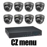 8CH 4MPx AHD kamerový set CCTV - DVR s LAN a 8x venkovních vari 2,8-12mm dome AHD IR kamer, 2688×1520px/CH, CZ menu,P2P, HDMI