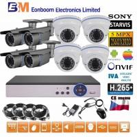 8CH 5MPx STARVIS kamerový set CCTV - DVR s LAN a 8x vonkajších vari 2,8-12mm bullet/dome IR kamier, 2688×1960px/CH, CZ menu,P2P, HDMI, IVA, H265+