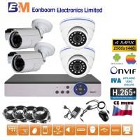 4CH 4MPx AHD kamerový set CCTV - DVR s LAN a 4x vonkajšie bullet/dome, 2688×1520px/CH, CZ menu,P2P, HDMI, IVA, H265+
