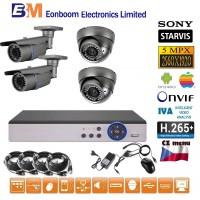 4CH 5MPx STARVIS AHD kamerový set CCTV - DVR s LAN a 4x vonkajšie vari 2,8-12mm bullet/dome, 2688×1960px/CH, CZ menu, P2P, HDMI, IVA, H265+
