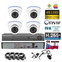 4CH 8MPx AHD kamerový set - 4K CCTV - DVR s LAN a 4x venkovní biele dome, 3840x2160px/CH, CZ menu, P2P, HDMI, IVA, H265+