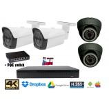 Kamerový set 8MPx 4K H265 IP EXIR 2x dome + 2x bullet kamier + 4K 32CH NVR 3108 s CZ menu + POE switch 4+1