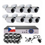8CH 1080p AHD kamerový set - DVR s LAN a 8x bullet 2MPx IR kamier, CZ menu,P2P, HDMI, IVA, H265+