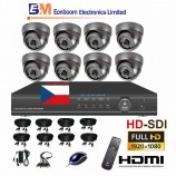 8CH HD-SDI souprava - DOME kamerový set, FULL HD 1080p SDI rekordér s LAN,  vč. příslušenství