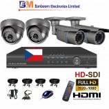 4CH HD-SDI souprava - DOME + BULLET kamerový set, FULL HD 1080p SDI rekordér s LAN,  vč. příslušenství