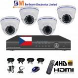 8CH 1080p AHD DVR kamerová souprava CCTV - DVR s LAN a 4x venkovních dome AHD IR kamer, 2,8-12mm,  vč. příslušenství, s kabeláží, 1920x1080px/CH, CZ menu,P2P, HDMI, 2MPx