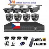 8CH 1080p AHD DVR kamerový set STARVIS CCTV - DVR s LAN a 4+4 dome+bullet AHD IR kamier, 4x ZOOM,  vr. príslušenstvo, s kabelážou, 1920x1080px/CH, CZ menu,P2P, HDMI, 2MPx