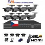 8CH 1080p AHD DVR kamerový set CCTV - DVR s LAN a 8x bullet AHD IR kamer, 2,8-12mm,  vč. příslušenství, s kabeláží, 1920x1080px/CH, CZ menu,P2P, HDMI, 2MPx