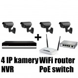 Kamerový IP set, 4x MHK N701LP FULL HD, vari + NVR6004 + router + POE switch 4 + 1