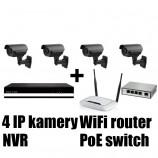 Kamerový IP set, 4x MHK N701LP FULL HD, vari + NVR6004 + router + POE switch 4 + 1